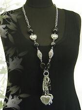 LAGENLOOK lange XXL Schmuck Halskette Bettel-Kette Charms Herz Elefant silber
