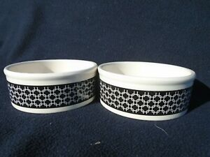 Two Ceramic Pet Feed or Water Dish