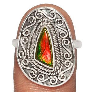 Bali Design - Genuine Canadian Ammolite 925 Silver Ring XGB Jewelry s.8 BR70238