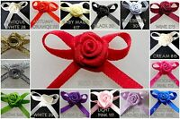 2cm Bows with Rose Bud- Pkts of 10 / 25- Embellishments, Trimmings ,Crafts