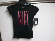 NIKE (PINK LOGO) GIRLS (DRI-FIT T SHIRT (4T) NWT $24 BLACK W/PINK SLOGAN LOGO