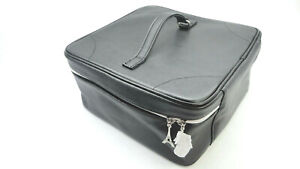 Lancome Cosmetic Makeup Train Case Square Bag 2016 EDT Faux Leather Black / Red