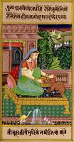 Indian Miniature Painting Lady Love to Animal Handmade Fine Artwork
