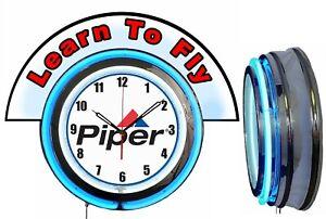 "Piper Aircraft w/ Flight School Red Marquee 19"" Blue Neon Clock Mancave"