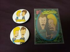 2 Vintage Beavis and Butt-Head Pin-Back Button Badges Pin + Card Free Shipping