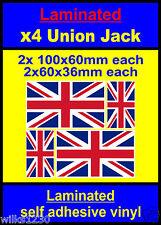 4x laminated decals union jack england gb flag car van bus truck bike dub addfx