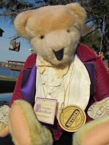 "VINTAGE TEDDY BEAR CORNELIUS NORTH AMERICAN CO PURPLE VELVET VIB 20"" PLUSH W TAG"