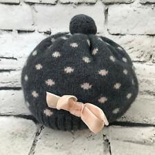 H&M Girls Sz 3-6Yrs Hat Gray Spotted Pom-Pom Bubble Beanie Warm Winter Cap