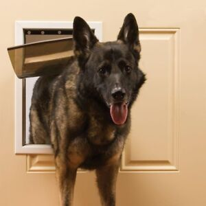 Large Dog Pet Door Magnetic Flap Gate w Lock Out Panel Aluminum Frame Self Close