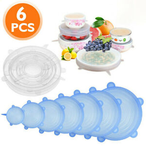 6 Packs Silicone Food Bowl Cover Extra Stretch Reusable Storage Lid Wraps Seals