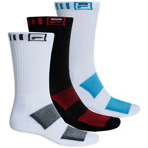 FILA Men's Crew Socks 3 Pairs Pack Large Black White Blue Red Athletic Cushion