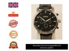 NUOVO in Scatola Fossil Uomo Orologio Cronografo BQ1279 Regno Unito Vera Pelle Cinturino Nero