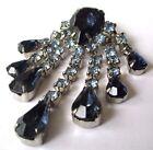 broche bijou vintage superbe cristal saphir topaze bleu couleur argent * 473
