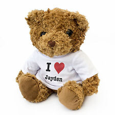 NEW - I LOVE JAYDEN - Teddy Bear Cute Cuddly - Gift Present Birthday Valentine