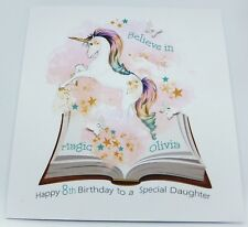 Personalised Unicorn Birthday Card Daughter Niece Granddaughter. Any Age