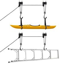 Bicycle Garage Storage Lift Kayak Canoe Hoist Hanger Rack Black 100 lb Capacity