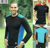 Herren Lauf- und Walkingshirt Shirt Laufshirt schwarz/blau atmungsaktiv COOLMAX