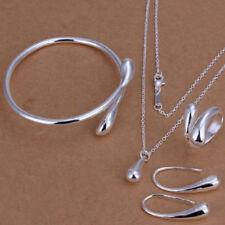 925 Fashion Women Wedding Silver Drop Necklace Bracelet Earring Ring Jewelry Set