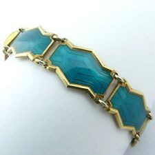 um 1920: Art Deco Armband Silber vergoldet türkis emailliert Norway signiert