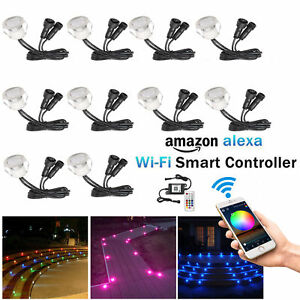 1-50er Set WIFI Controller RGB LED Bodeneinbaustrahler Terrasse Außen Minispots