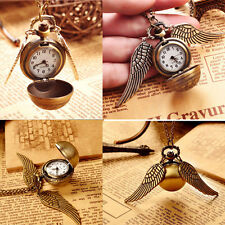 New Harry Potter Snitch Watch Pendant Necklace Steampunk Quidditch Wing Clock V