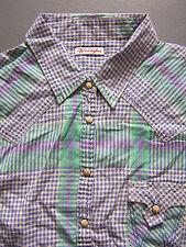 WRANGLER Camicia check senza maniche women's Small Verde Blu Vintage # lshy 793