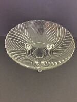 Vintage Anchor Hocking Prismatic Swirl Tri-Footed Serving Bowl  VGUC