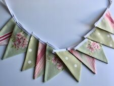 MINI BUNTING Pink & Sage Green Spots, Stripes & Florals 2 mtrs 10 flags