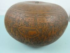 More details for vintage carved gourd from peru scrimshaw ethnographic museum quality