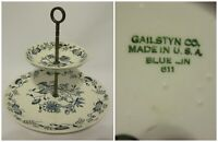 Vintage 2 Tier Serving Tray Plates Gailstyn Co Blue Lin 611 Floral Tea Made USA