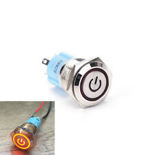 16mm 12V Red LED Power Push Button Switch Aluminum Metal Latching Waterproof KW