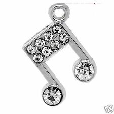 2 Silver Plated Rhinestone Music Note Pendant Charms