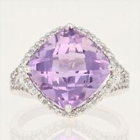 NEW Amethyst & Diamond Halo Ring - 14k White Gold Checkerboard Cushion 8.17ctw