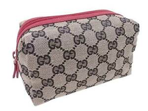 Auth Gucci GG Canvas Pouch Multicase Beige/Navy/Red Canvas/Leather - e49572g