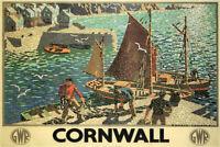 Cornwall England Vintage Travel Art Print Poster 12x18