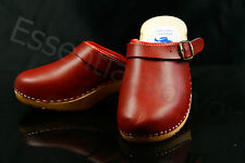 size 5 UK / 38 EU Women's wooden clogs, swedish style , RED  leather