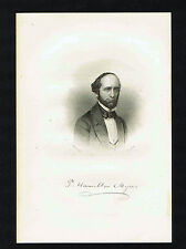 Peter Hamilton Myers, lawyer and novelist -1855 Steel Engraved Print