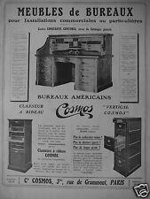 PUBLICITÉ PRESSE 1909 MEUBLES DE BUREAUX COSMOS CLASSEUR A RIDEAU - ADVERTISING