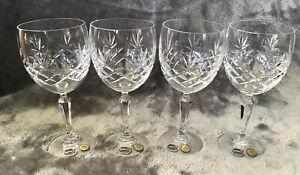 Fabulous Vintage Set Of 4 Lead Cut Crystal Bohemia Glass Large Wine Glasses
