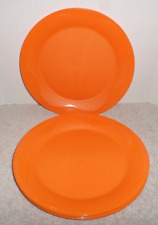 "Tupperware 8"" Round Dessert Plates in a Rare Hard to Find Orange Color New"