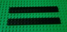 *NEW* Lego Black Long 2x16 Stud Flat Plates House Space Planes - 2 pieces