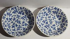 Blue China Bowls Berry Patter Made in England Blackberry Raspberry Strawberry