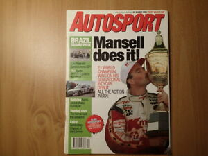 AUTOSPORT MAGAZINE-Mansell Does It! Wins Indycar Debut-25 MARCH 1993-w/Insert