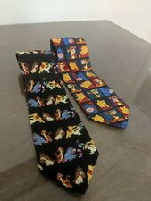 Vintage Disney Pooh Tigger Eeyore Mens Exquisite Apparel neckties LOT OF 2 rare!
