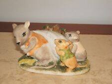 Vintage Momma Mouse And 2 Babies Ceramic Figurine