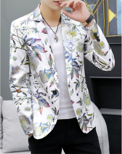 Mens Floral One Button Blazers Clubwear Party Slim Casual Suit Jacket