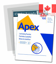 Apex Medium Laminating Pouches, Letter Size for 5ml Setting, 100 Per Pack