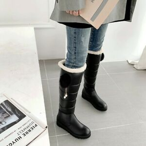 Women Round Toe Fur Pom Knee High Boots Fashion Thick Warm Snow Shoes Winter w