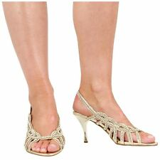 WOMENS LADIES BRIDAL PROM PARTY LOW HEEL DIAMANTE ANKLE STRAP SHOES SIZE 3-8