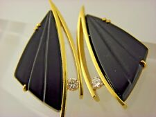 Retro Kahle Carved Black Onyx and Diamond Earrings 18K Gold    #06750